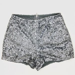 [Charlotte Russe] Silver Sequin Short Shorts